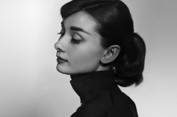Wallpaper Audrey, Hepburn, Bw, Film, Dark, Headshot, Young