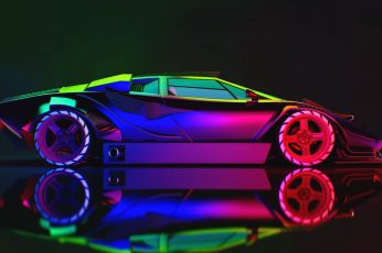Wallpaper Auto, Lamborghini, Neon, Machine, Car, Art