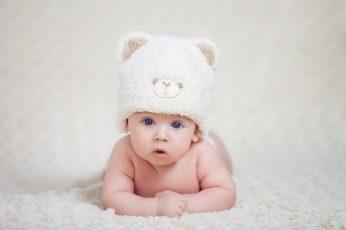 Wallpaper Babys White Bear Knit Cap, Child, Face, Sweet
