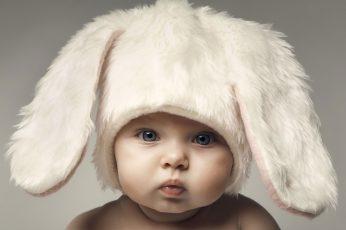 Wallpaper Babys White Rabbit Themed Aviator Hat, Face