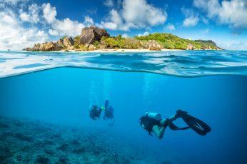 Wallpaper Black Flippers, Landscape, Scuba, Underwater