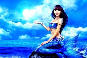 Wallpaper Blue Mermaid, Sea, Girl, The Ocean, Tail, Asian