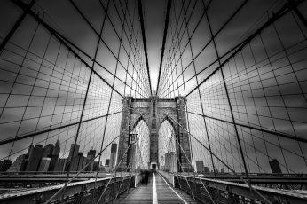 Wallpaper Brooklyn Bridge Bridge Cables New York Buildings