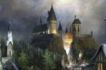 Wallpaper Brown Castle Painting, Fiction, Fantasy, Hogwart