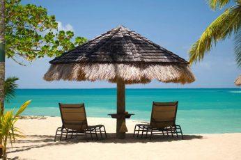Wallpaper Brown Hut Cottage, Island, Beach, Umbrella, Palm
