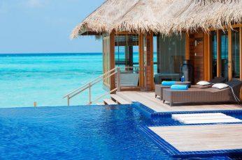 Wallpaper Brown Wooden Floating Cottage, Maldives, Resort