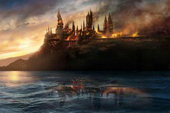 Burning Castle Wallpaper, Harry Potter, Hogwarts