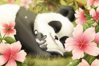 Wallpaper Cute Panda And Cub, Smiling, Sleeping, Flowers