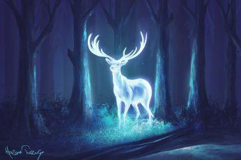 Wallpaper Digital Art, Deer, Forest, Neon, Fantasy Art