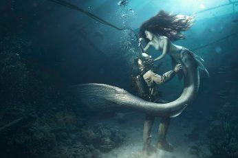 Wallpaper Diver The Mermaid