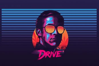 Wallpaper Drive Poster, Ryan Gosling, Sunglasses, New Retro