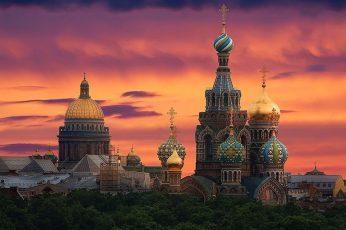Wallpaper Dusk, St Petersburg, Orange Sky, Orthodox