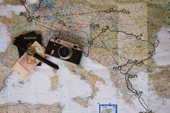 Wallpaper Euro Trip, Map, Camera, Travel, Wanderlust