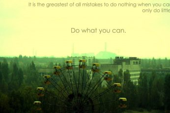 Wallpaper Ferris Wheel With Text Overlay, Chernobyl, Quote