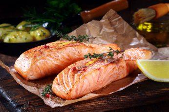 Wallpaper Food, Salmon, Fish, Grilled Salmon