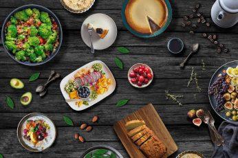 Wallpaper Food, Still Life, Wooden Surface
