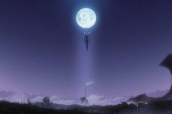 Wallpaper Full Moon And Evangelion, Neon