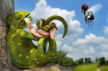 Wallpaper Funny 3d Chameleon