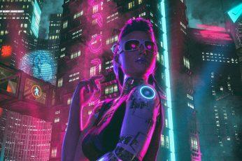 Wallpaper Girl, Night, The City, Neon, Sci Fi, Cyborg
