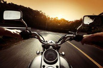 Wallpaper Gray Motorcycle, Road, Nature, Movement, Markup