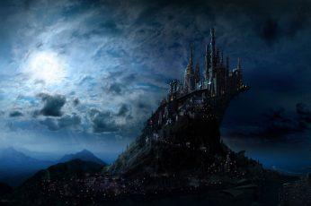 Wallpaper Harry Potter, Artistic, Blue, Castle, Fantasy