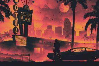Wallpaper Hotlime Miami Poster, Monochrome, Old Car, Retro
