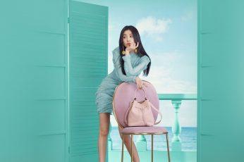 Wallpaper Hyojoo, Girl, Kpop, Asian, Green, Spring, Dress