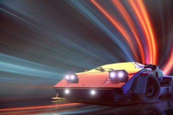 Wallpaper Lamborghini, Neon, Countach