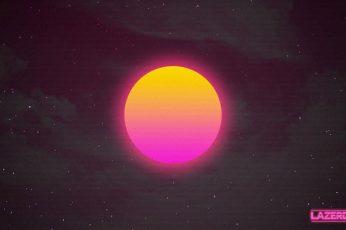 Wallpaper Lazerdiscs, Synthwave, Sun, Cyberpunk