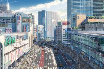 Wallpaper Makoto Shinkai, Kimi No Na Wa, Cityscape