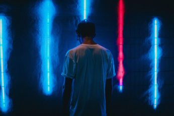 Wallpaper Man Standing Near Blue Led Strips, Night, Light