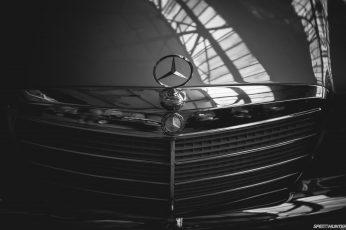Wallpaper Mercedes Logo Bw Grill Hd, Silver Mercedes Benz