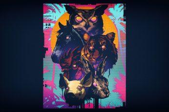Wallpaper Minimalism, Background, Art, Neon, Hotline Miami