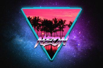 Wallpaper Music, Stars, Neon, Palm Trees, Triangle, Electro