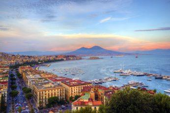 Wallpaper Naples Coastal City In Italy And Mount Vesuvius