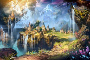 Wallpaper Nature Art Fantasy Art Mountains