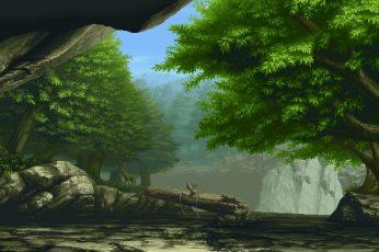Wallpaper Nature Art 3d Art Of Forest, Pixel Art