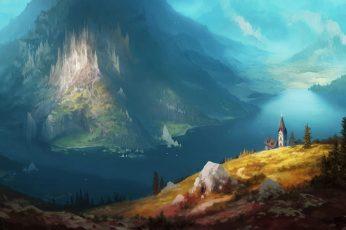Wallpaper Nature Art Blue Mountain Illustration