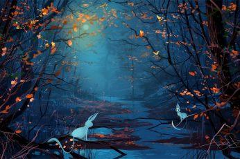 Wallpaper Nature Art Forest Illustration, Digital Photo