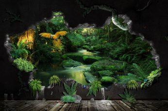 Wallpaper Nature Art Green Leafed Plant, Digital Art, Cgi
