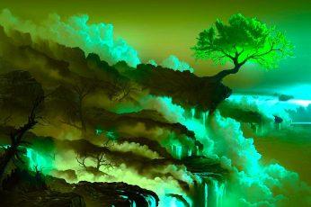 Wallpaper Nature Art Green Leafed Tree Photo, Digital Art