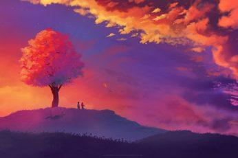 Wallpaper Nature Art Illustration, Landscape, Tree Bark