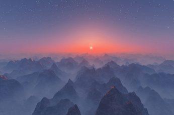 Wallpaper Nature Art Mountains Under Blue Sky, Mist
