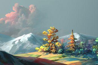 Wallpaper Nature Art Nature, Painting, Mountain, Landscape