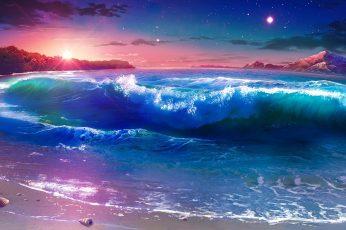 Wallpaper Nature Art Nature, Sky, Wave, Sea, Night, Ocean