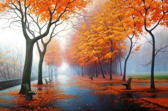 Wallpaper Nature Art Orange Leafed Trees Painting, Autumn