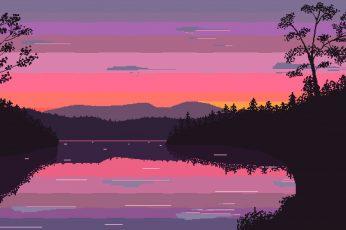 Wallpaper Nature Pixel Art, Digital Art