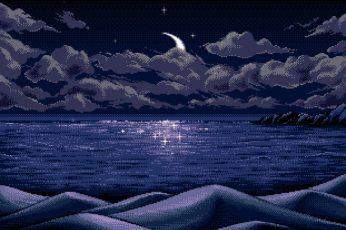 Wallpaper Nature Art Sea Wallpaper, Digital Art, Pixel Art
