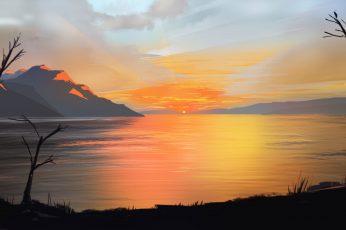 Wallpaper Nature Art Sky, Landscape, Nature, Sunset, Art