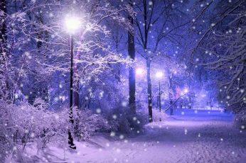 Wallpaper Nature Art Street Light, Snow, Snowing, Winter